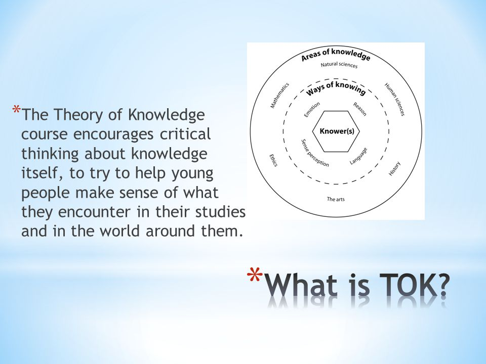 * The Theory of Knowledge course encourages critical thinking about knowledge itself, to try to help young people make sense of what they encounter in their studies and in the world around them.