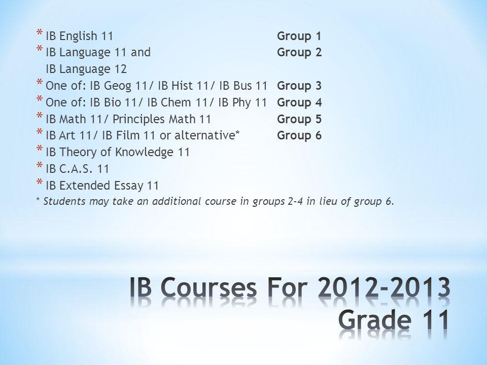 * IB English 11Group 1 * IB Language 11 andGroup 2 IB Language 12 * One of: IB Geog 11/ IB Hist 11/ IB Bus 11Group 3 * One of: IB Bio 11/ IB Chem 11/