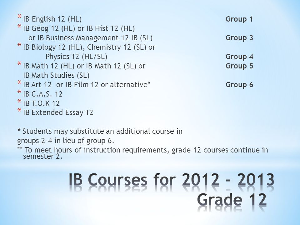 * I B English 12 (HL) Group 1 * IB Geog 12 (HL) or IB Hist 12 (HL) or IB Business Management 12 IB (SL) Group 3 * IB Biology 12 (HL), Chemistry 12 (SL) or Physics 12 (HL/SL)Group 4 * IB Math 12 (HL) or IB Math 12 (SL) or Group 5 IB Math Studies (SL) * IB Art 12 or IB Film 12 or alternative*Group 6 * IB C.A.S.