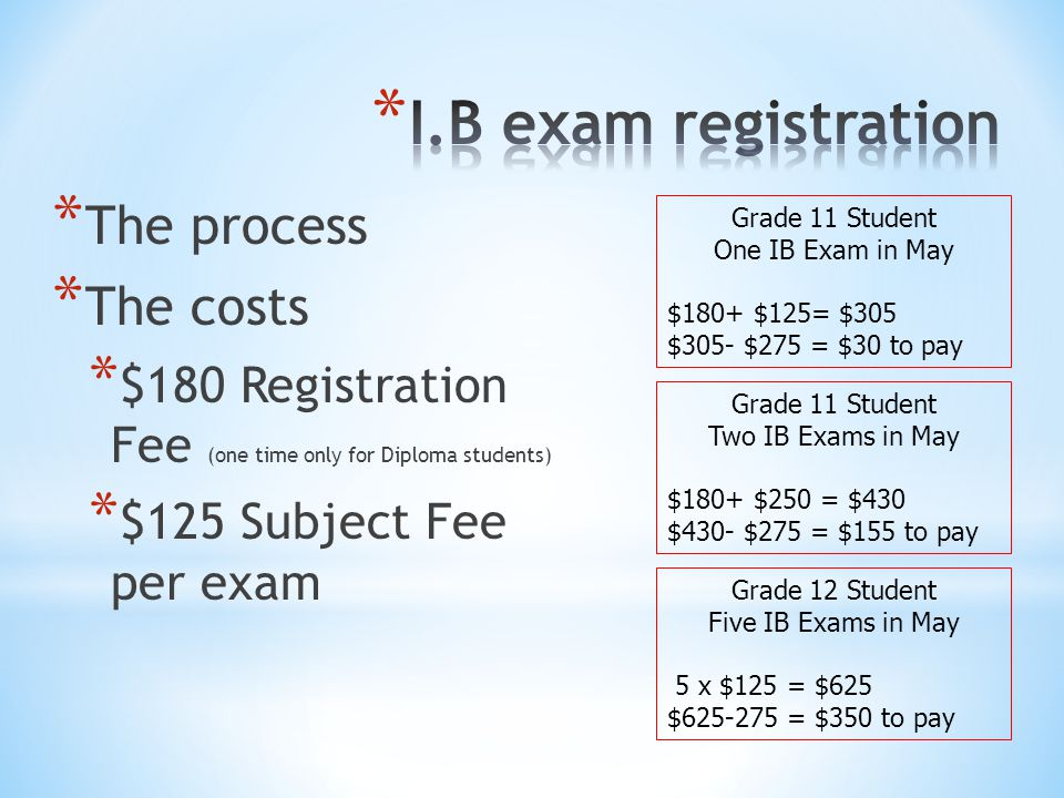 * The process * The costs * $180 Registration Fee (one time only for Diploma students) * $125 Subject Fee per exam Grade 11 Student One IB Exam in May $180+ $125= $305 $305- $275 = $30 to pay Grade 11 Student Two IB Exams in May $180+ $250 = $430 $430- $275 = $155 to pay Grade 12 Student Five IB Exams in May 5 x $125 = $625 $625-275 = $350 to pay