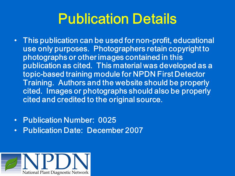 Publication Details This publication can be used for non-profit, educational use only purposes. Photographers retain copyright to photographs or other