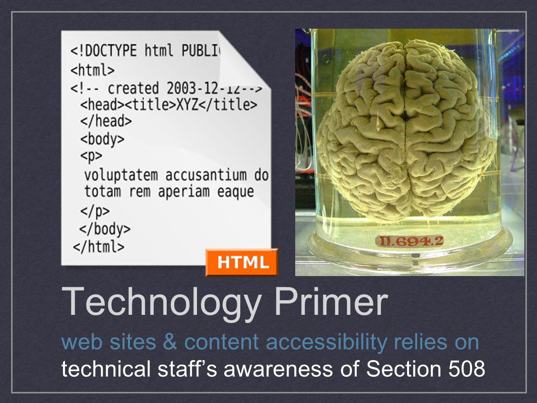 Technology Primer web sites & content accessibility relies on technical staffs awareness of Section 508