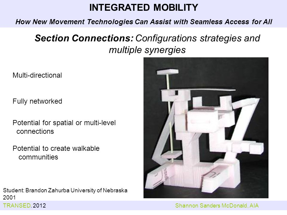 Section Connections: Configurations strategies and multiple synergies Student: Brandon Zahurba University of Nebraska 2001 Multi-directional Fully networked Potential for spatial or multi-level connections Potential to create walkable communities INTEGRATED MOBILITY How New Movement Technologies Can Assist with Seamless Access for All TRANSED.