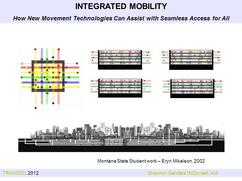 Montana State Student work – Eryn Mikelson, 2002 INTEGRATED MOBILITY How New Movement Technologies Can Assist with Seamless Access for All TRANSED.