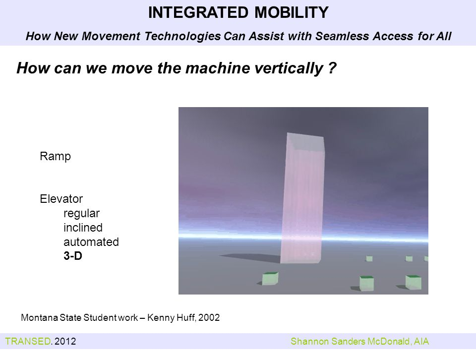 Montana State Student work – Kenny Huff, 2002 INTEGRATED MOBILITY How New Movement Technologies Can Assist with Seamless Access for All How can we move the machine vertically .