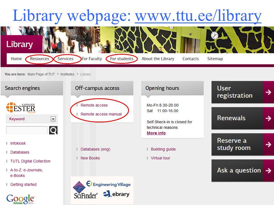 Library webpage: www.ttu.ee/library