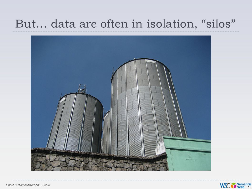 11 But… data are often in isolation, silos Photo credinepatterson, Flickr