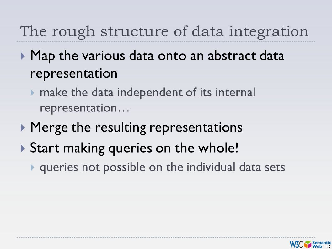 16 The rough structure of data integration Map the various data onto an abstract data representation make the data independent of its internal representation… Merge the resulting representations Start making queries on the whole.