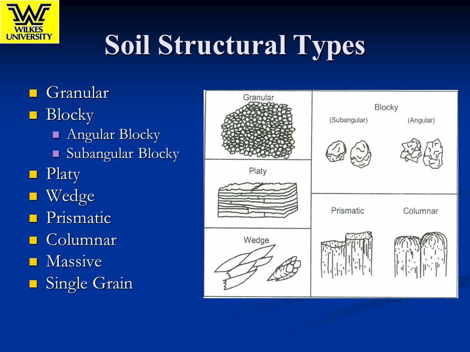Soil Structural Types Granular Granular Blocky Blocky Angular Blocky Angular Blocky Subangular Blocky Subangular Blocky Platy Platy Wedge Wedge Prisma