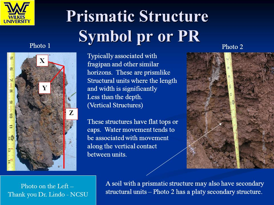 Prismatic Structure Symbol pr or PR Typically associated with fragipan and other similar horizons. These are prismlike Structural units where the leng
