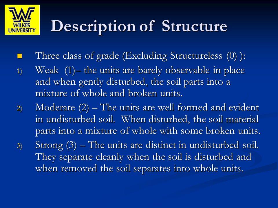 Description of Structure Three class of grade (Excluding Structureless (0) ): Three class of grade (Excluding Structureless (0) ): 1) Weak (1)– the un