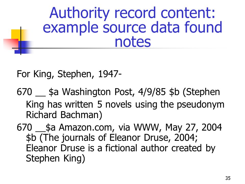 35 Authority record content: example source data found notes For King, Stephen, 1947- 670 __ $a Washington Post, 4/9/85 $b (Stephen King has written 5