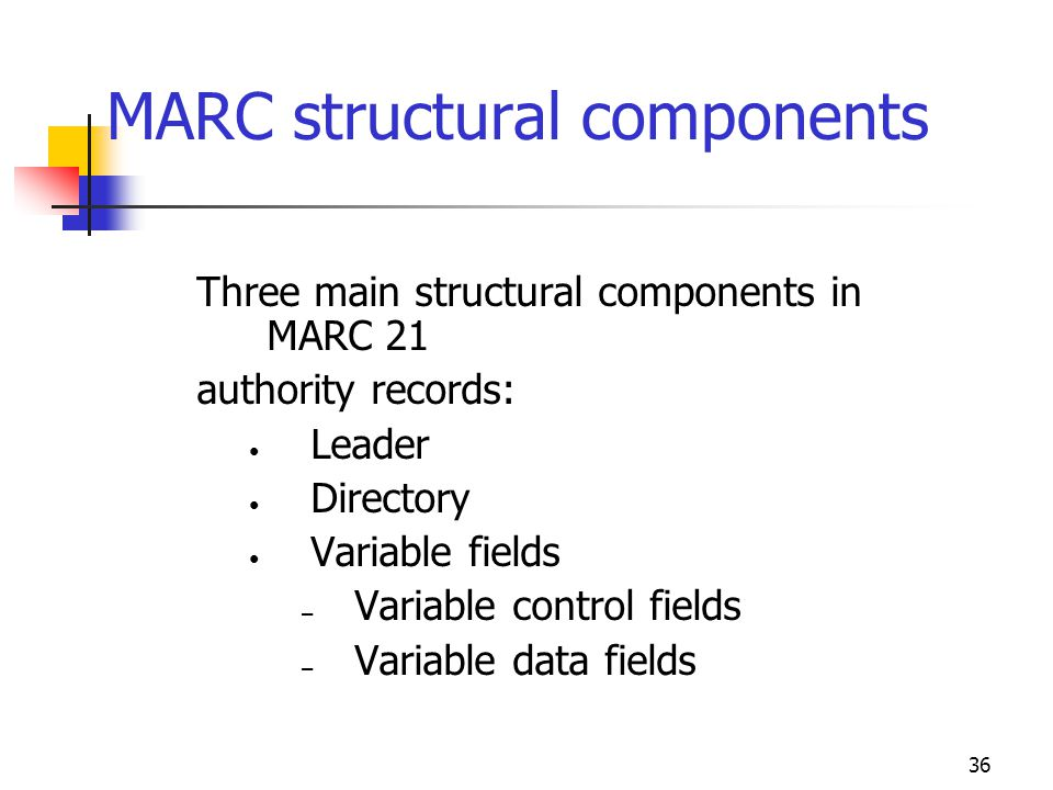 36 MARC structural components Three main structural components in MARC 21 authority records: Leader Directory Variable fields – Variable control field