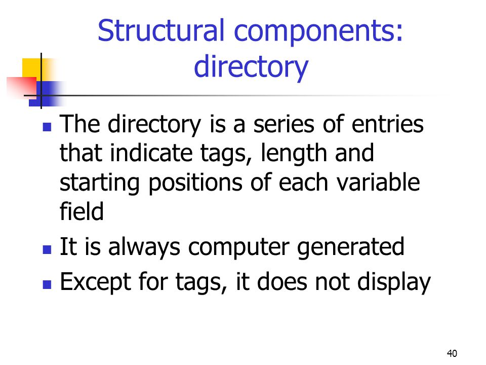 40 Structural components: directory The directory is a series of entries that indicate tags, length and starting positions of each variable field It i