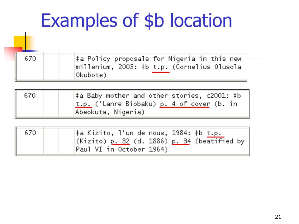 21 Examples of $b location