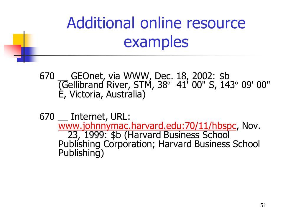 51 Additional online resource examples 670 __ GEOnet, via WWW, Dec. 18, 2002: $b (Gellibrand River, STM, 38 º 41' 00