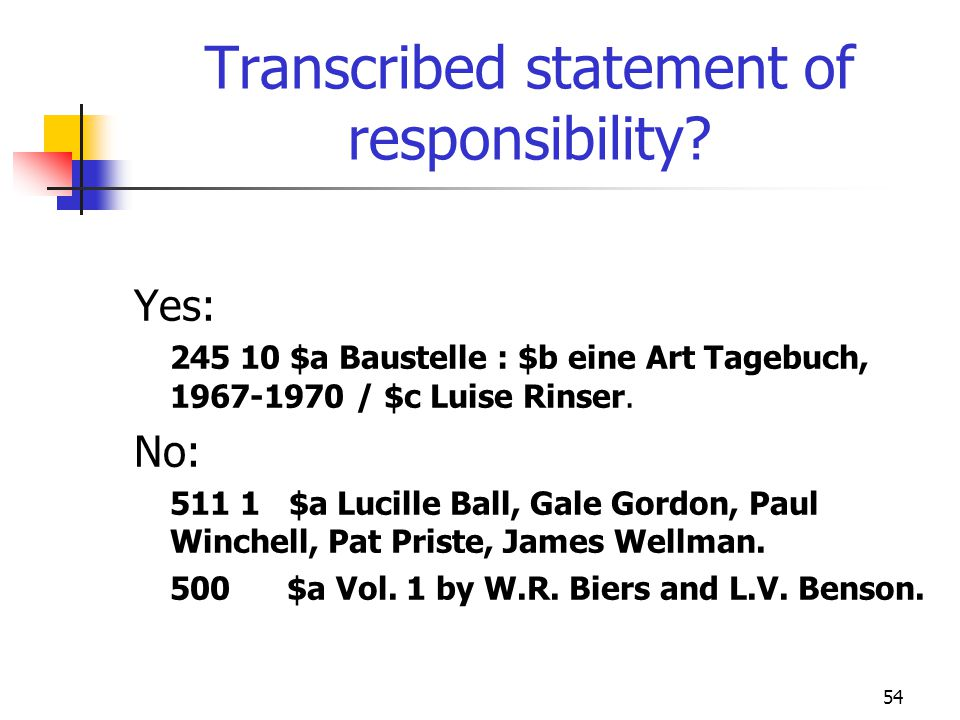 54 Transcribed statement of responsibility? Yes: 245 10 $a Baustelle : $b eine Art Tagebuch, 1967-1970 / $c Luise Rinser. No: 511 1 $a Lucille Ball, G