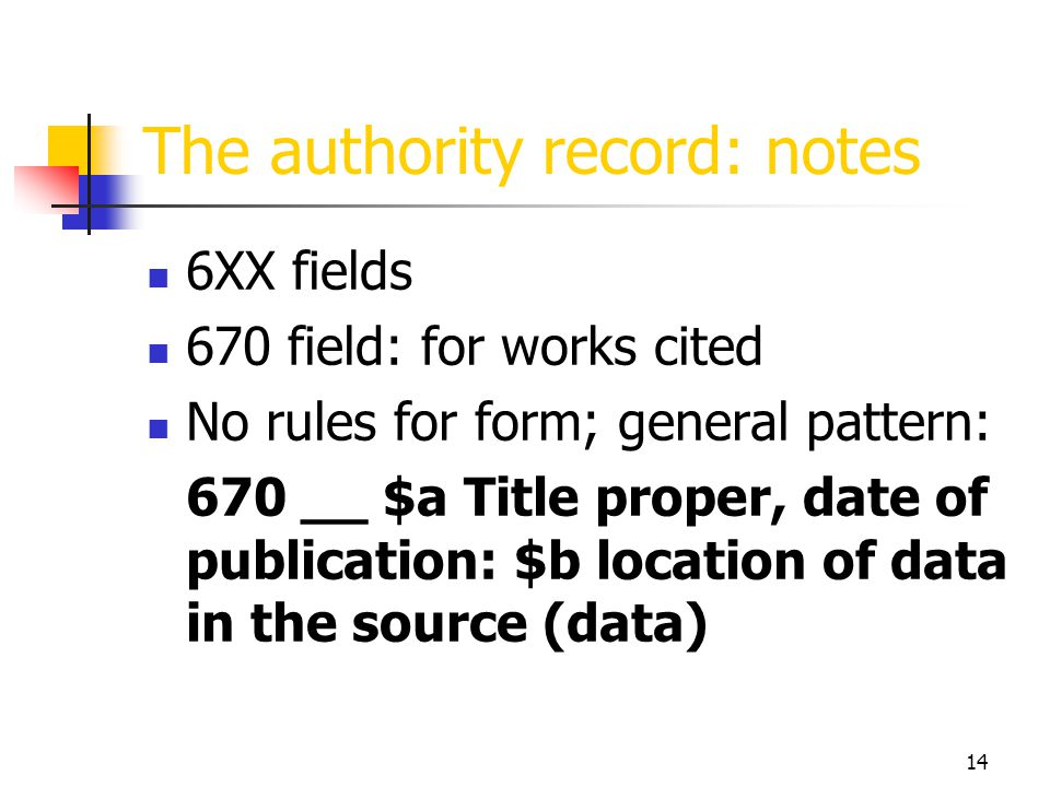 14 The authority record: notes 6XX fields 670 field: for works cited No rules for form; general pattern: 670 __ $a Title proper, date of publication: