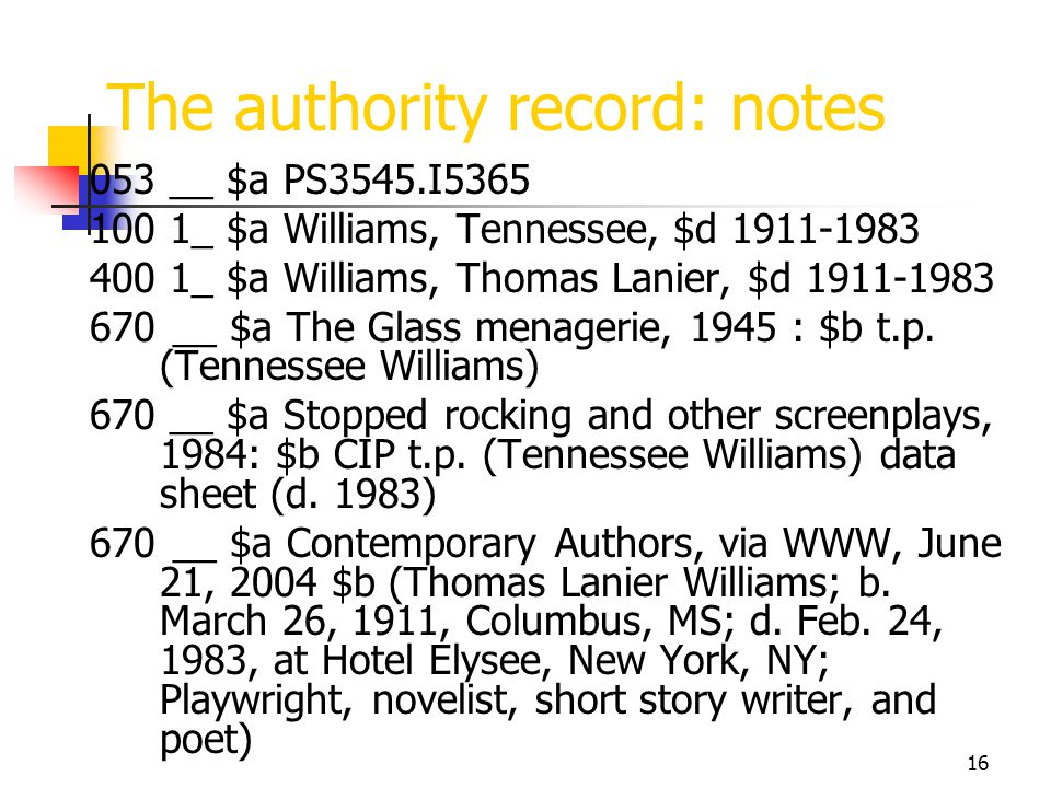 16 The authority record: notes 053 __ $a PS3545.I5365 100 1_ $a Williams, Tennessee, $d 1911-1983 400 1_ $a Williams, Thomas Lanier, $d 1911-1983 670