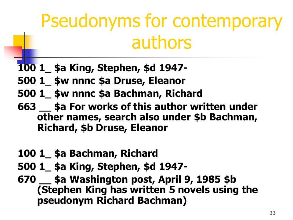 33 Pseudonyms for contemporary authors 100 1_ $a King, Stephen, $d 1947- 500 1_ $w nnnc $a Druse, Eleanor 500 1_ $w nnnc $a Bachman, Richard 663 __ $a