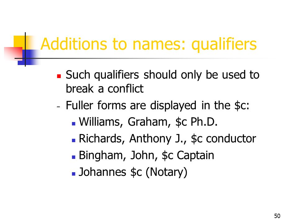 50 Additions to names: qualifiers Such qualifiers should only be used to break a conflict Fuller forms are displayed in the $c: Williams, Graham, $c P
