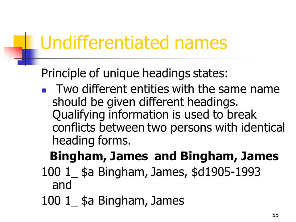 55 Undifferentiated names Principle of unique headings states: Two different entities with the same name should be given different headings. Qualifyin