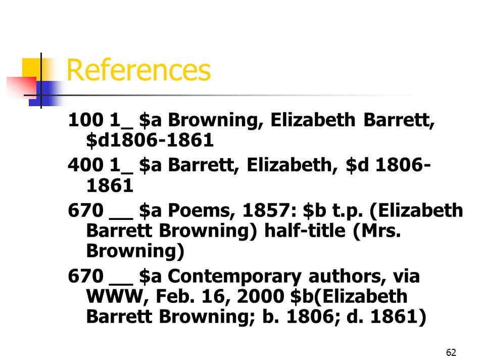 62 References 100 1_ $a Browning, Elizabeth Barrett, $d1806-1861 400 1_ $a Barrett, Elizabeth, $d 1806- 1861 670 __ $a Poems, 1857: $b t.p. (Elizabeth