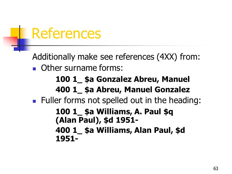 63 References Additionally make see references (4XX) from: Other surname forms: 100 1_ $a Gonzalez Abreu, Manuel 400 1_ $a Abreu, Manuel Gonzalez Full