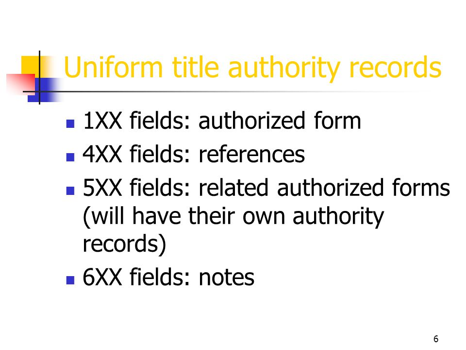 6 Uniform title authority records 1XX fields: authorized form 4XX fields: references 5XX fields: related authorized forms (will have their own authori