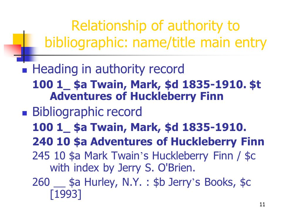 11 Relationship of authority to bibliographic: name/title main entry Heading in authority record 100 1_ $a Twain, Mark, $d 1835-1910. $t Adventures of