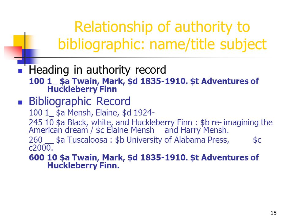 15 Relationship of authority to bibliographic: name/title subject Heading in authority record 100 1_ $a Twain, Mark, $d 1835-1910. $t Adventures of Hu