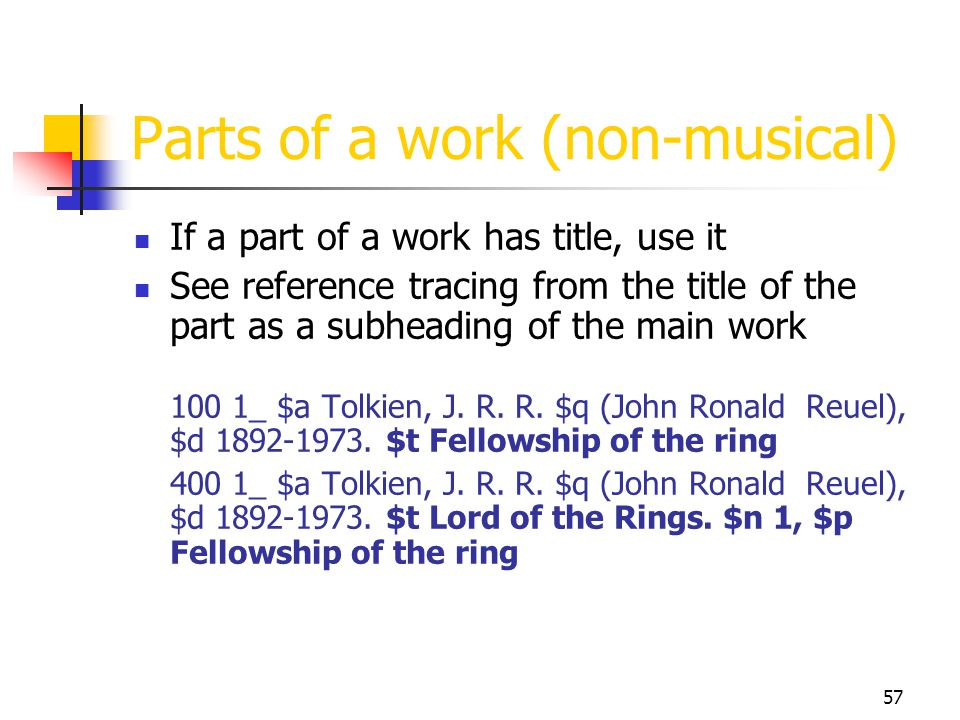 57 Parts of a work (non-musical) If a part of a work has title, use it See reference tracing from the title of the part as a subheading of the main wo