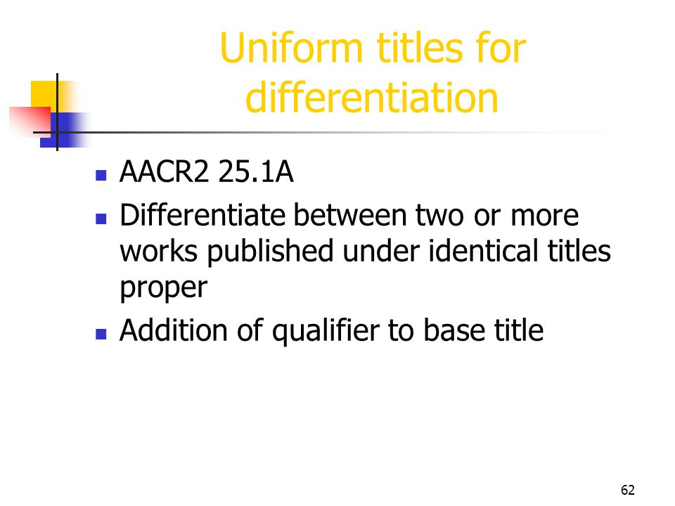 62 Uniform titles for differentiation AACR2 25.1A Differentiate between two or more works published under identical titles proper Addition of qualifie
