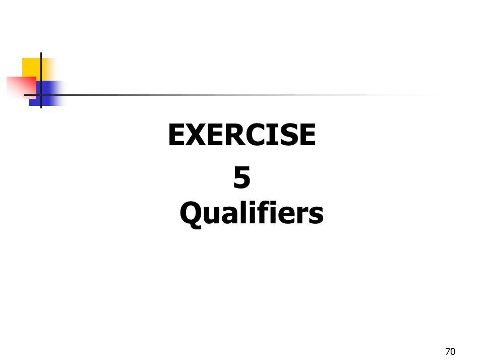 70 EXERCISE 5 Qualifiers