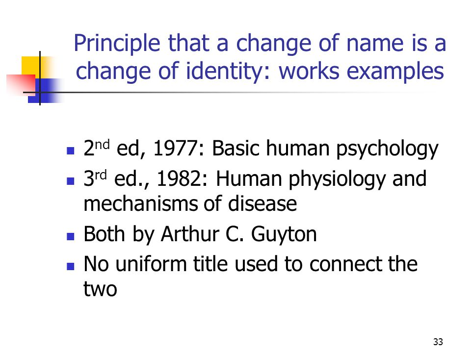 33 Principle that a change of name is a change of identity: works examples 2 nd ed, 1977: Basic human psychology 3 rd ed., 1982: Human physiology and