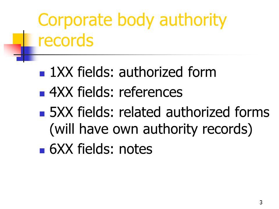 3 Corporate body authority records 1XX fields: authorized form 4XX fields: references 5XX fields: related authorized forms (will have own authority re