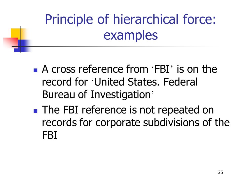 35 Principle of hierarchical force: examples A cross reference from FBI is on the record for United States. Federal Bureau of Investigation The FBI re