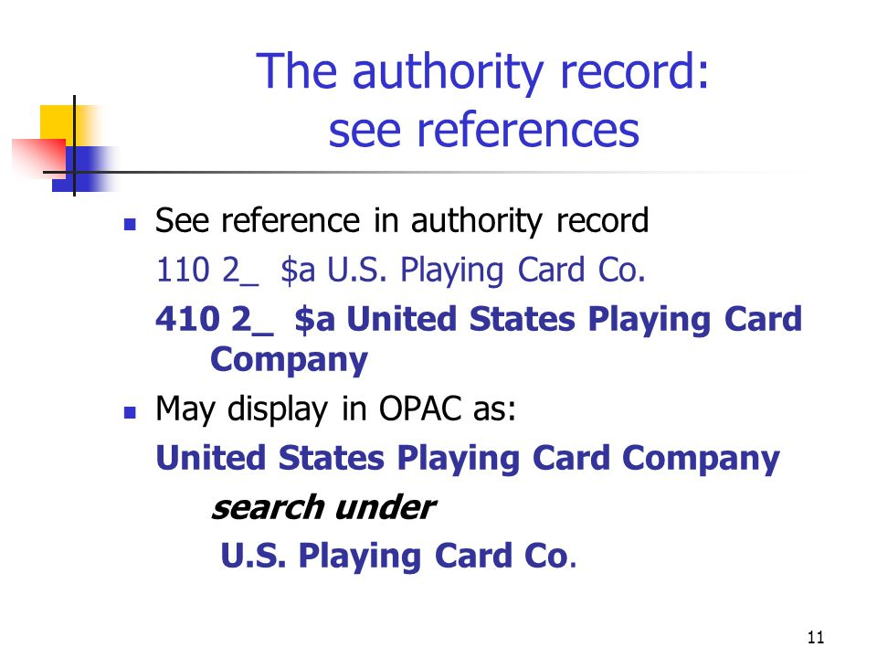 11 The authority record: see references See reference in authority record 110 2_ $a U.S. Playing Card Co. 410 2_ $a United States Playing Card Company