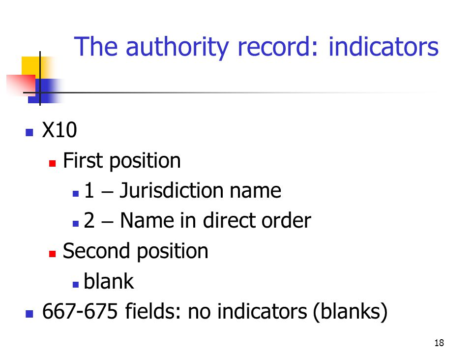 18 The authority record: indicators X10 First position 1 – Jurisdiction name 2 – Name in direct order Second position blank 667-675 fields: no indicat