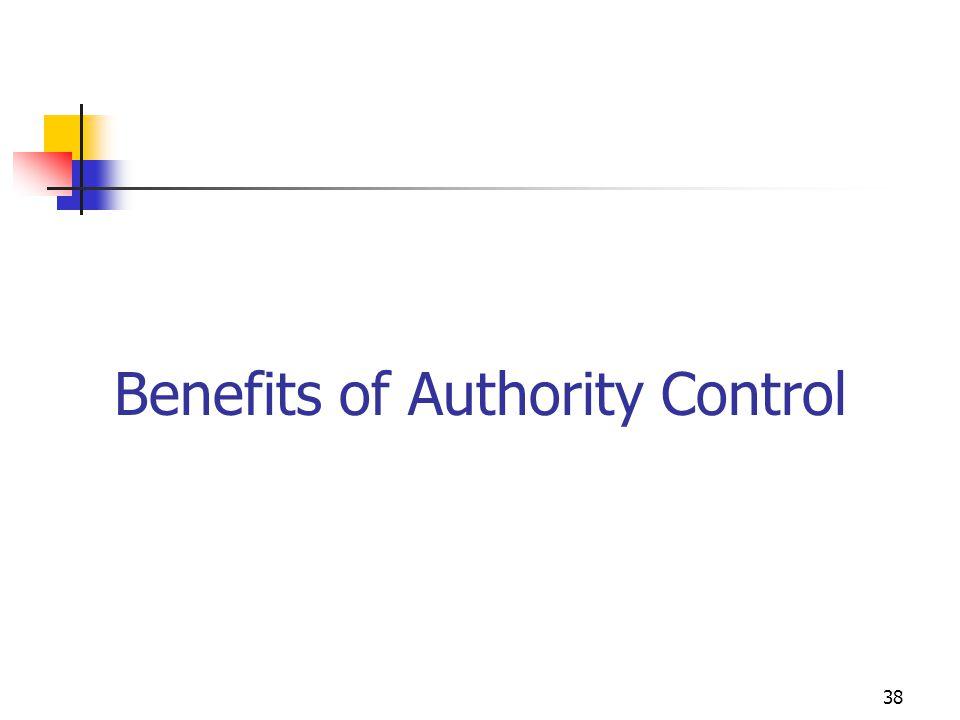 38 Benefits of Authority Control