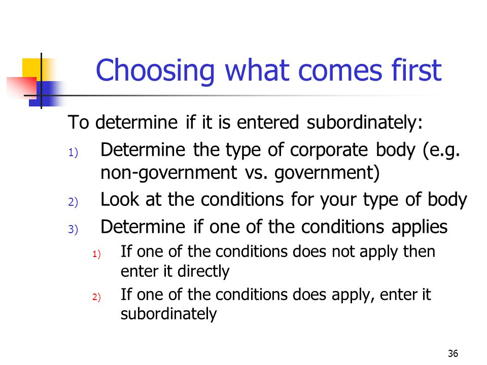 36 Choosing what comes first To determine if it is entered subordinately: 1) Determine the type of corporate body (e.g. non-government vs. government)