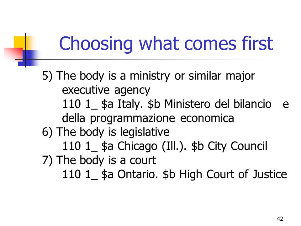 42 Choosing what comes first 5) The body is a ministry or similar major executive agency 110 1_ $a Italy. $b Ministero del bilancio e della programmaz