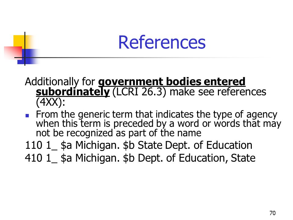 70 References Additionally for government bodies entered subordinately (LCRI 26.3) make see references (4XX): From the generic term that indicates the