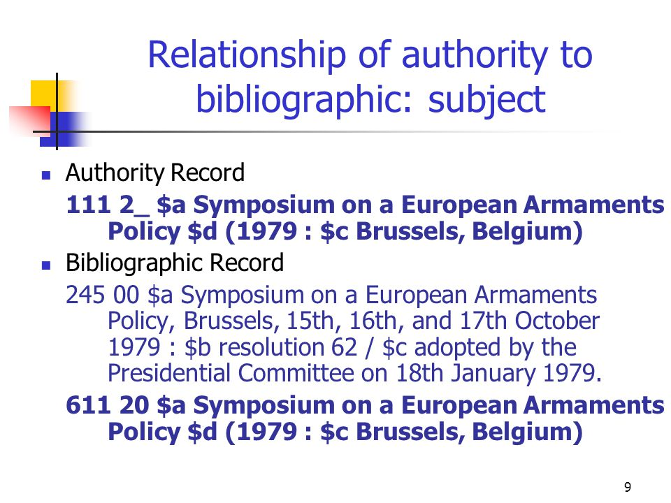 9 Relationship of authority to bibliographic: subject Authority Record 111 2_ $a Symposium on a European Armaments Policy $d (1979 : $c Brussels, Belg
