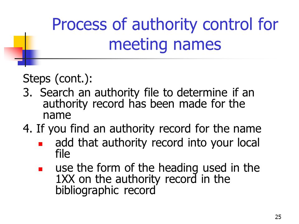 25 Process of authority control for meeting names Steps (cont.): 3. Search an authority file to determine if an authority record has been made for the