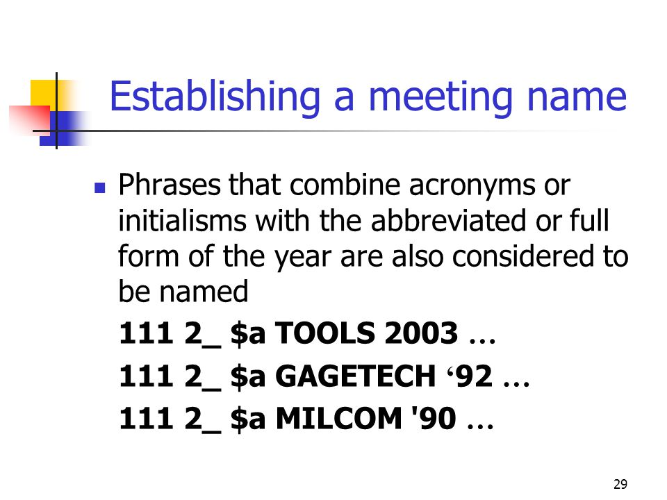 29 Establishing a meeting name Phrases that combine acronyms or initialisms with the abbreviated or full form of the year are also considered to be na