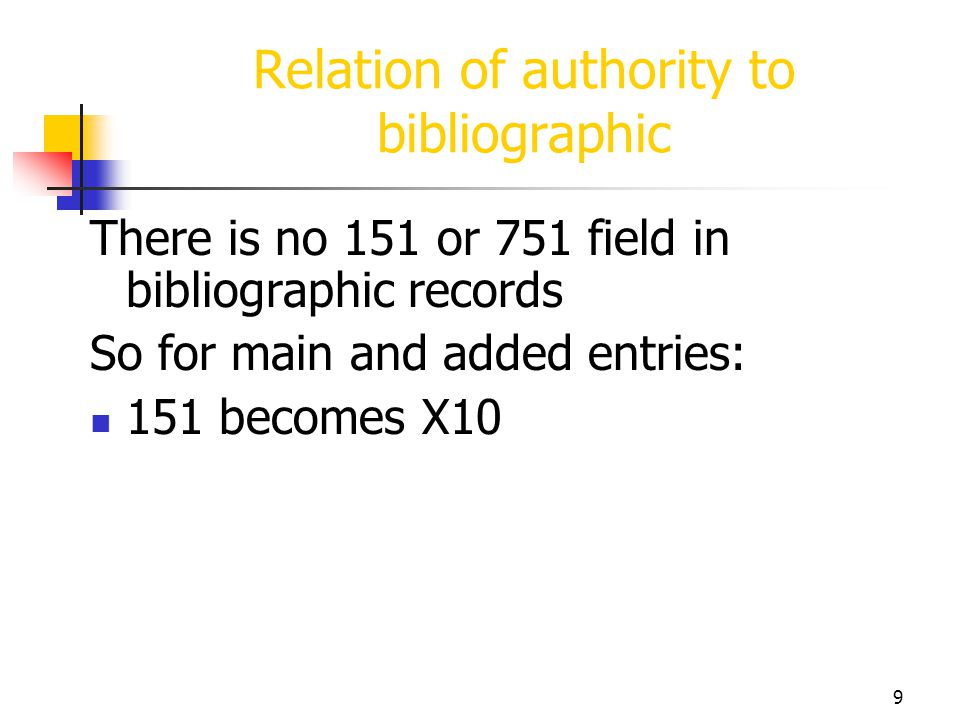 9 Relation of authority to bibliographic There is no 151 or 751 field in bibliographic records So for main and added entries: 151 becomes X10
