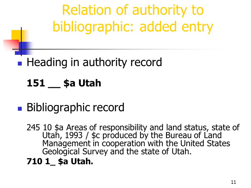 11 Relation of authority to bibliographic: added entry Heading in authority record 151 __ $a Utah Bibliographic record 245 10 $a Areas of responsibili