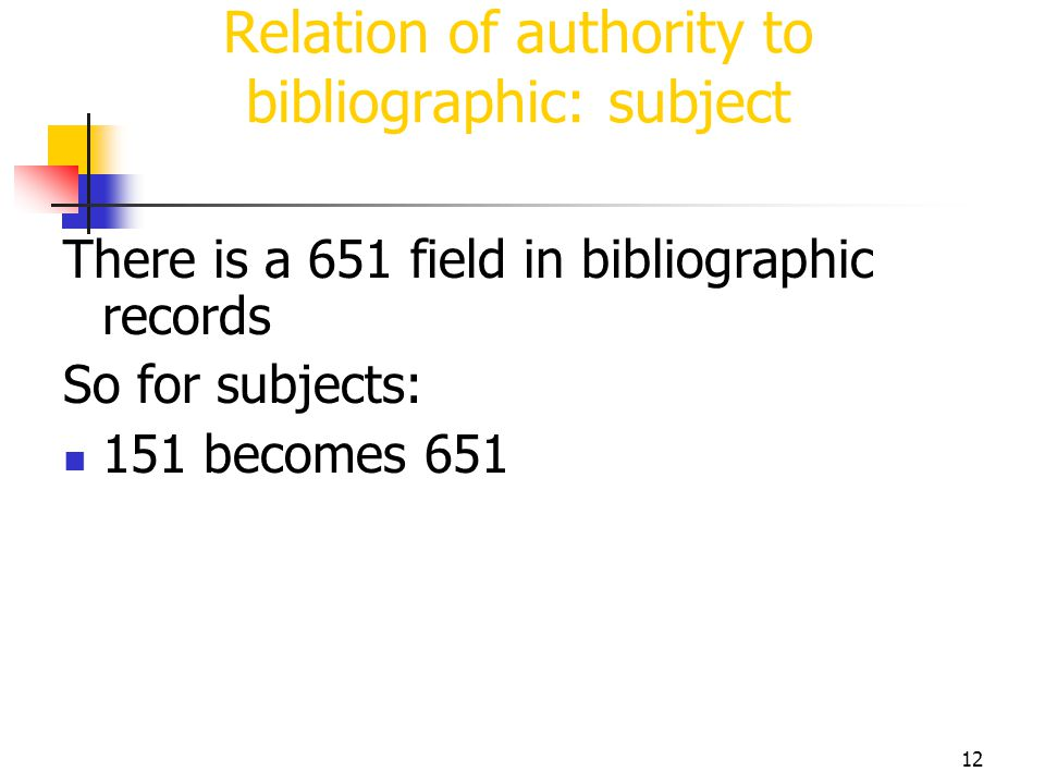 12 Relation of authority to bibliographic: subject There is a 651 field in bibliographic records So for subjects: 151 becomes 651