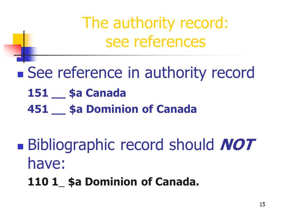 15 The authority record: see references See reference in authority record 151 __ $a Canada 451 __ $a Dominion of Canada Bibliographic record should NO